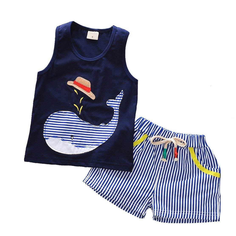 e6955a921205 Get Quotations · daqinghjxg 2018 Baby Clothes Boys Sleeveless Tops + Shorts  Striped Toddler Boy Clothing Set