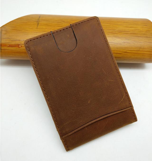 fbdf821eac7 Boshiho rfid blokkeren crazy horse mannen minimalistische draagbare geld  clip portemonnee