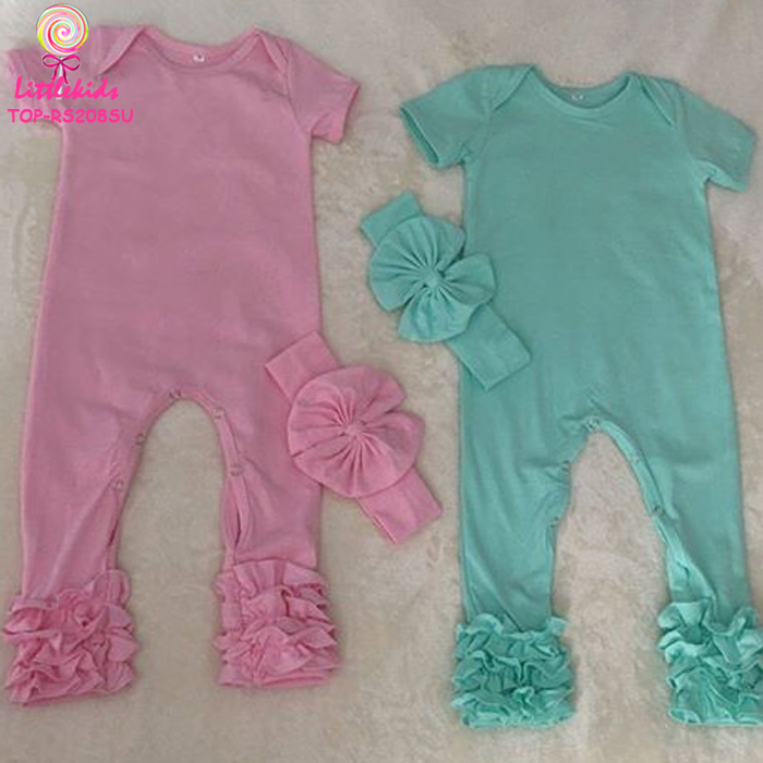 e7553b4e599 Boutique baby solid color clothes triple ruffle icing romper bodysuit soft  cotton baby infant toddler icing