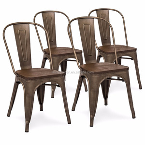 Set Of 4 Industrial Distressed Metal Bistro Dining Side Chairs w/Wood Seat