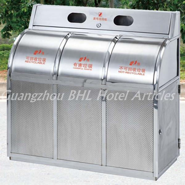 Large Capacity Stainless Steel Waste Management System Outdoor Clification Recycle Bins Metal Trash Can Gpx286b