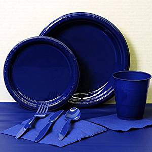Navy Blue Plastic Party Kit for 20