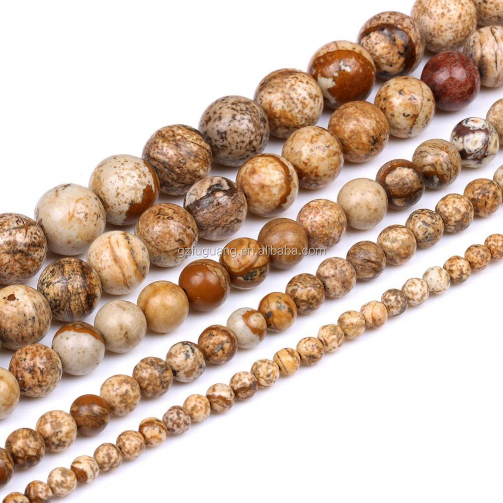 4mm 6mm 8mm 10mm 12mm round natural picture jasper beads DIY semi precious stones