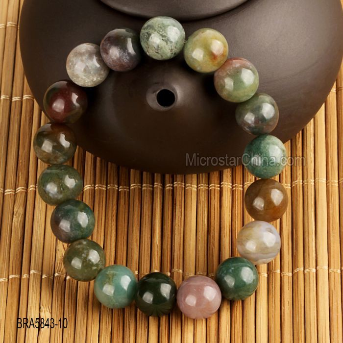 10mm Natural India Agate Bracelet Gem Stone Round Jewelry Beads Stretch Handmade Men Bracelet Stone