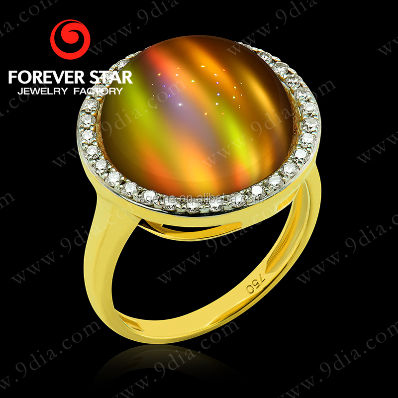 2015 New Arrival Chrysonitor Cat's Eye And Diamond 23ct Gold Jewellery