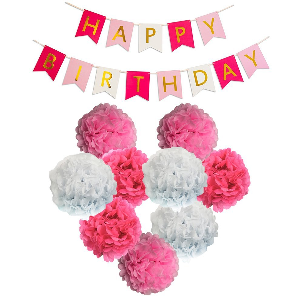 Monkey Home Lovely Happy Birthday Bunting Banners Paper Pom Poms Flowers Hot Pink Light Pink White with 3 Meters Strip for Birthday Party Decorations