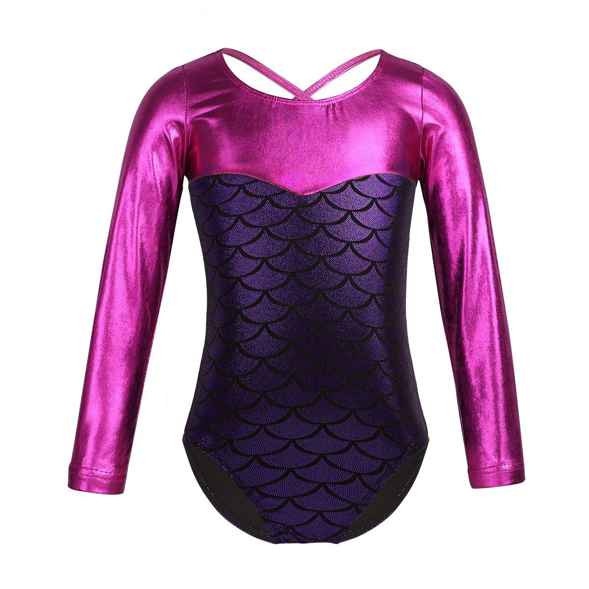 41798de5d2 Get Quotations · FEESHOW Kids Girls Mermaid Fish Scales Printed Gymnastic  Leotard Shiny Sparkle Ballet Dance Costumes