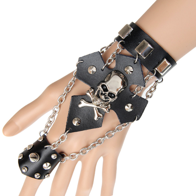 Fashion jewelry punk rock skull cross leather link finger bracelets