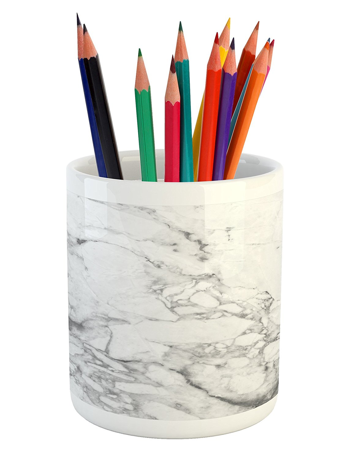Marble Pencil Pen Holder by Lunarable, Old Fashion Grungy Cultured Marbling Motif Formation Lines Retro Artsy Design Print, Printed Ceramic Pencil Pen Holder for Desk Office Accessory, White Grey