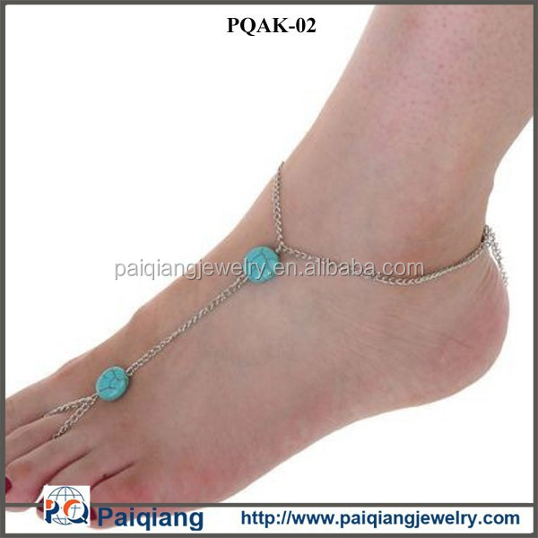 China wholesale fashion hot selling silver chains double turquoise bead anklet