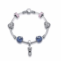 SJPDRSVH008 Luxury Upscale Magnet Buckle 925 Sterling Silver Apple Bead Princess Butterfly Shoes Charm Bead Bracelet