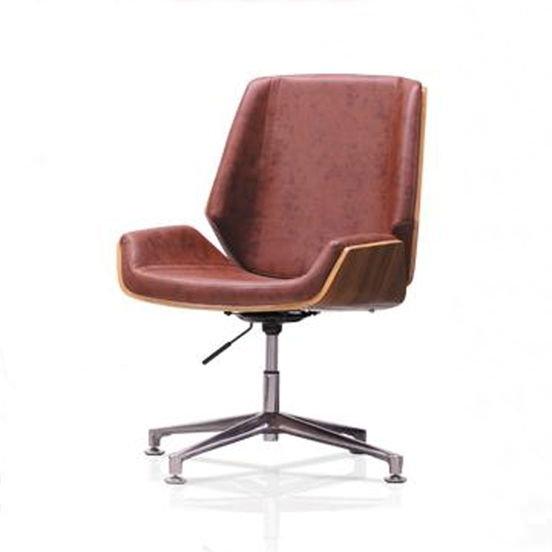 Dark Brown Modern Creative PU Leather Leisure Chair with Swivel Function Gas Lift Height Adjust
