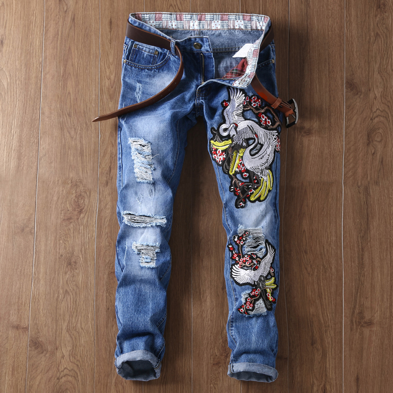 Fashion Knitted Embroidered Fabrics Scratch Denim Jeans Pants From China