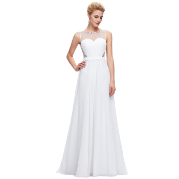 Starzz Sleeveless Chiffon Ball Gown White Simple Evening Dress ...