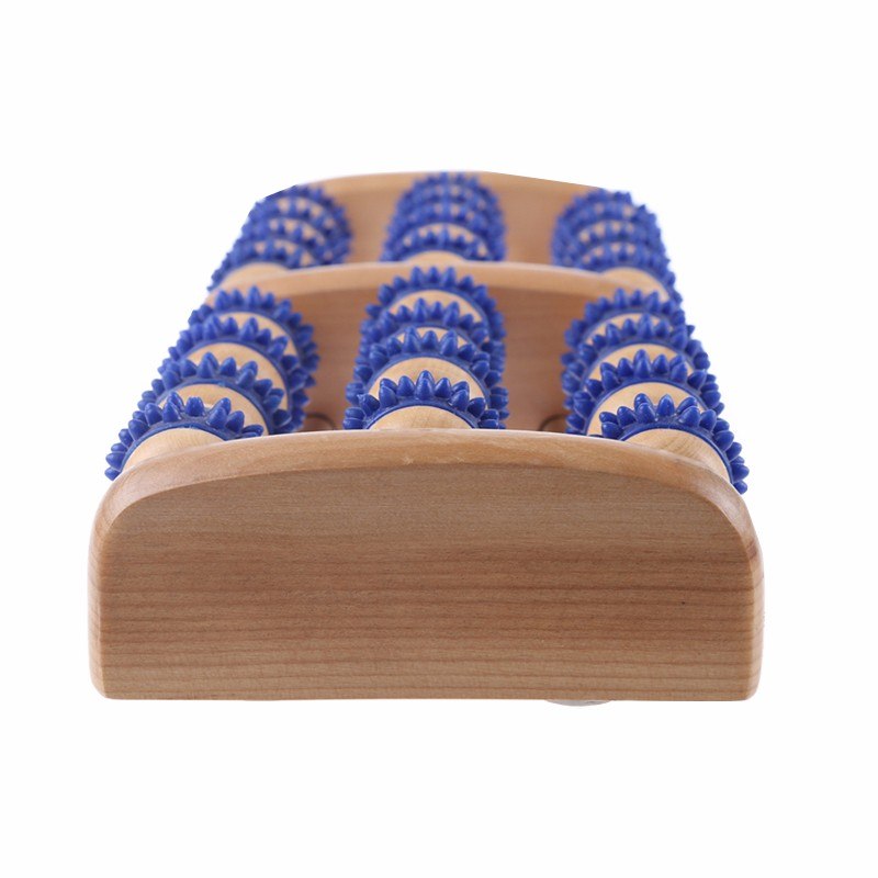high end 3 row plastic wooden massage roller for foot relaxing