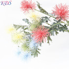 Leaves Flowers Yellow Artificial Suppliers Artificial Chrysanthemum Flowers Yellow and Red Flowers for Garden with Green Leaves Garland
