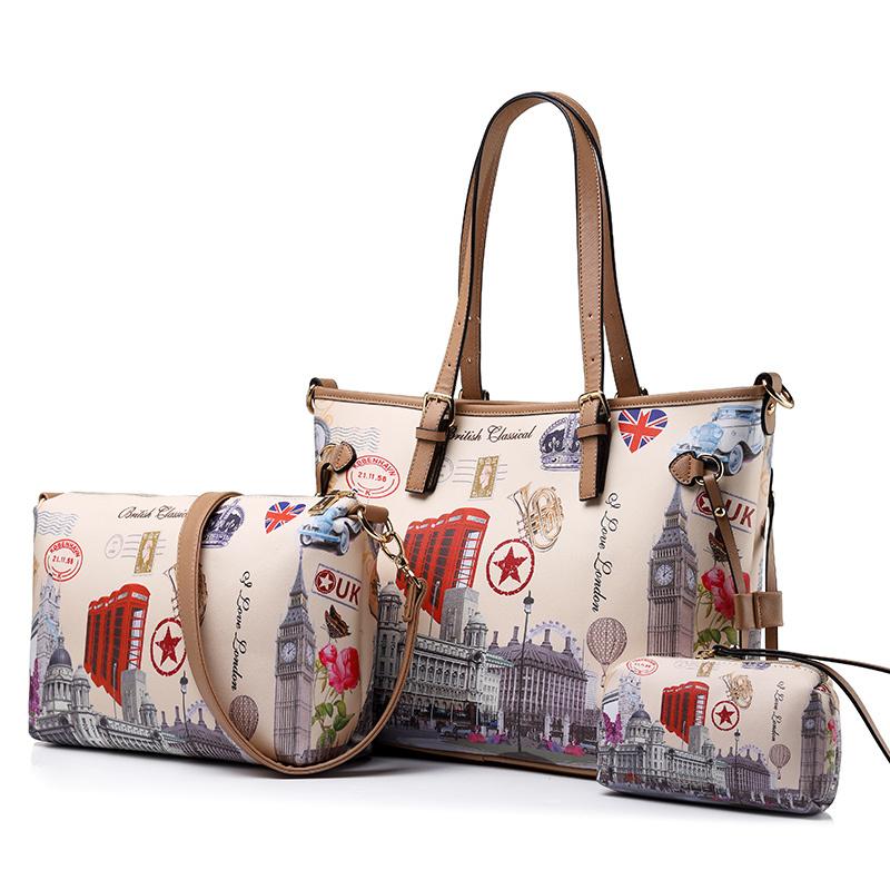 Realer женщин большой плеча сумочку 3 комплекта старинные печатные сумка Женская кошельки женские сумки через плечо Новинка 2017 года(Китай)