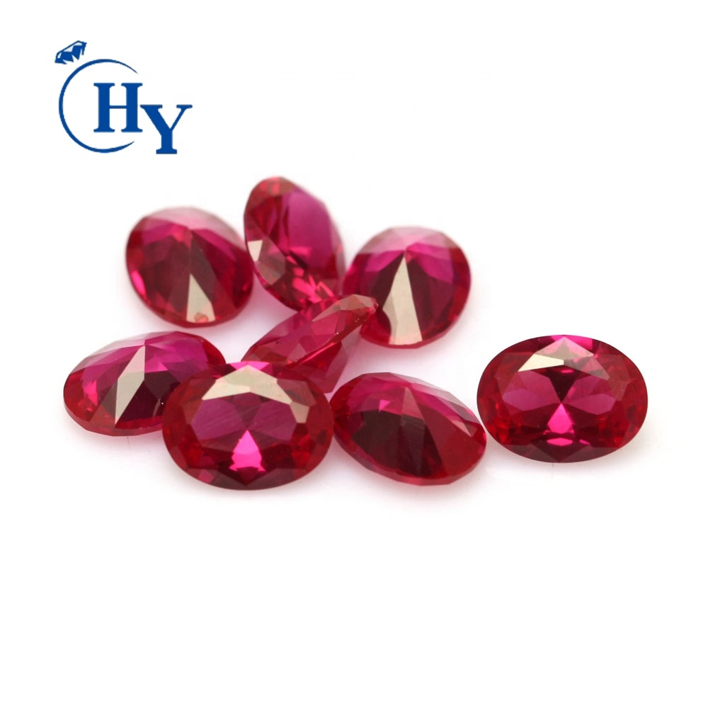 Heat resistance oval cut stock sizes synthetic red sapphire ruby prices