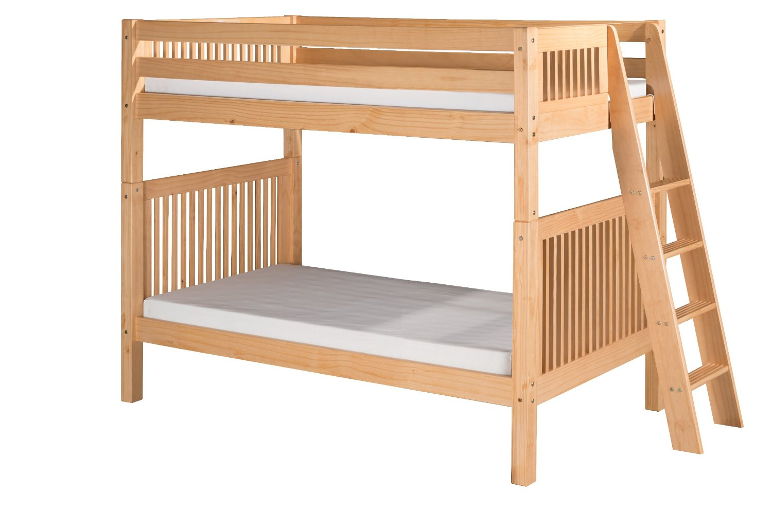 Camaflexi Mission Style Solid Wood Bunk Bed, Twin-Over-Twin, End Angled Ladder, Natural