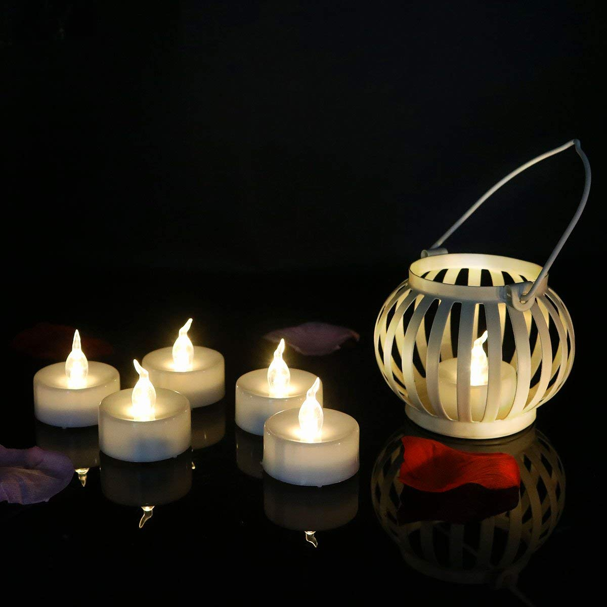 Dellukee White Battery Candles with Timer Flickering Realistic Bright LED Tea Lights Flameless Candles for Wedding Birthday Party Decoration, Pack of 96, Electric Fake Candle in Warm White