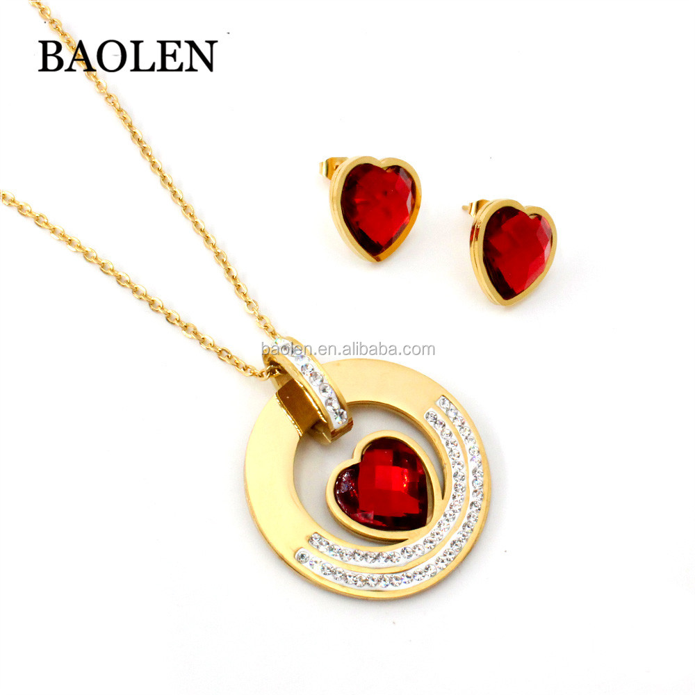 Baolen 보석 패션 18 천개 금 Plated 두바이 Style 와 Red Ruby Gemstone Earring Necklace Sets