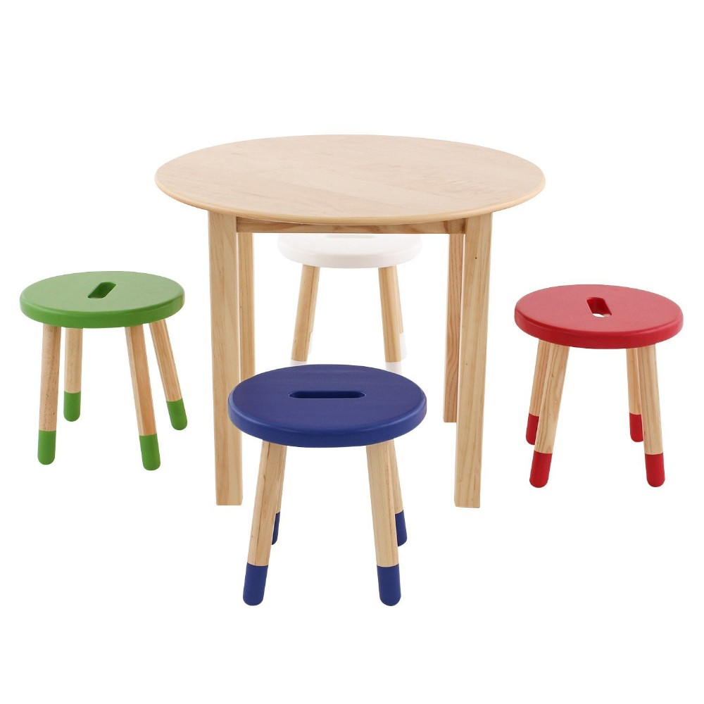 Child Reading Table Natural Wood Kid And Toddler Round Set With 4 Colored Stools Kids Chair