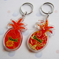 pineapple shape low price clear plastic keychains for bikes