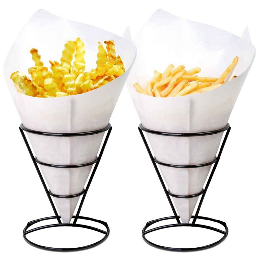 Home & Garden Sweettreats 2-piece Stainless Steel French Fry Stand Cone Basket Holder For Fries Fish And Chips And Appetizers Storage Basket Kitchen,dining & Bar