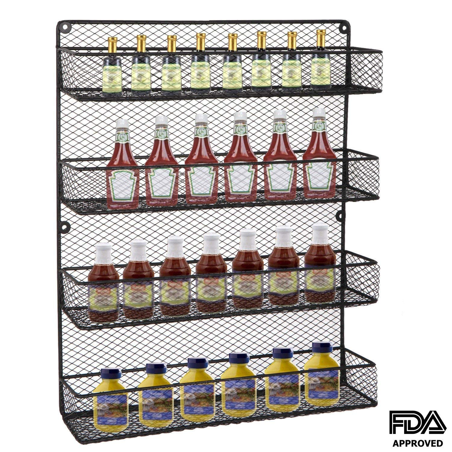 Metal 4 Tier Chicken Wire Wall Mounted Storage Jar Rack Black | Hold Spice Bottles Shakes Everyday Kitchen Items 44 Lbs Capacity Strong | Organizing Bathroom Essentials Cosmetics Craft Oils Home