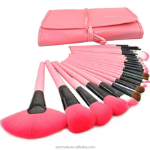 Logo Branding 24 Pcs Makeup Brush Set with PU Pouch, private label makeup brush