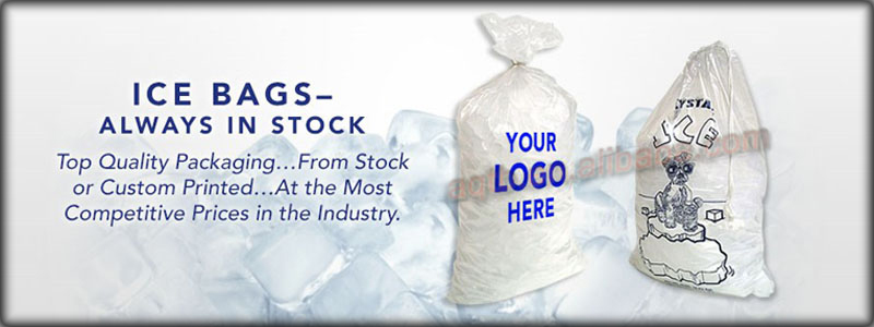 customized plastic ice bag for ice cube with wicket handle