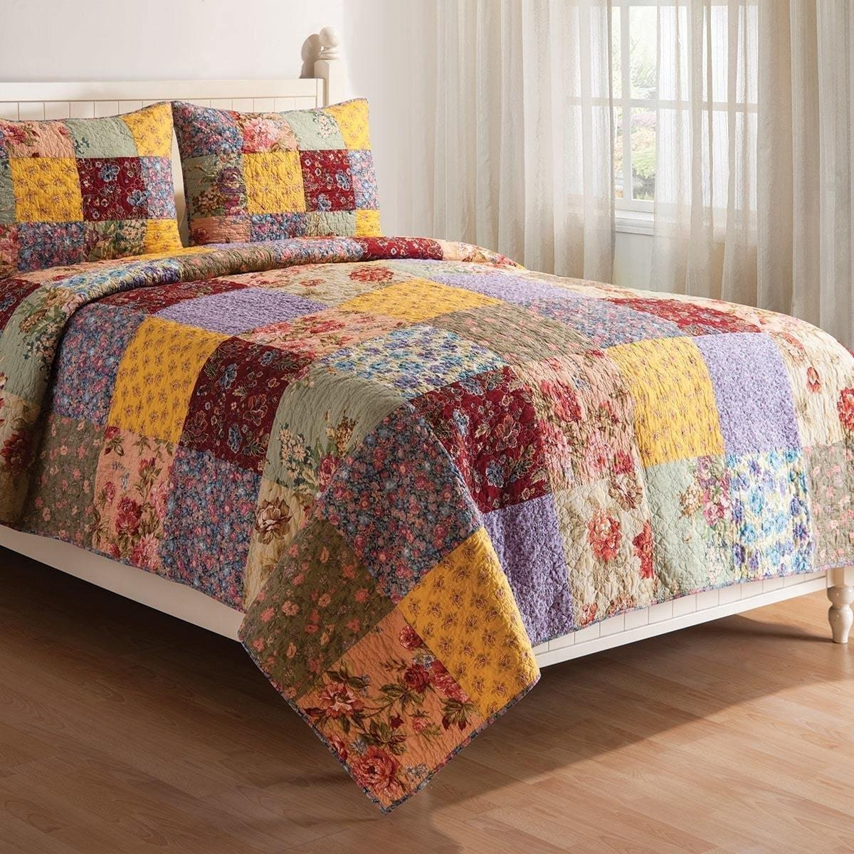 MISC 2pc Vintage Gold Red White Green Blue Pink Full Twin Quilt Set, Cotton, Floral Patchwork Themed Bedding Rose Cottage French Country Rustic Pretty Flower Boho Bohemian Striped