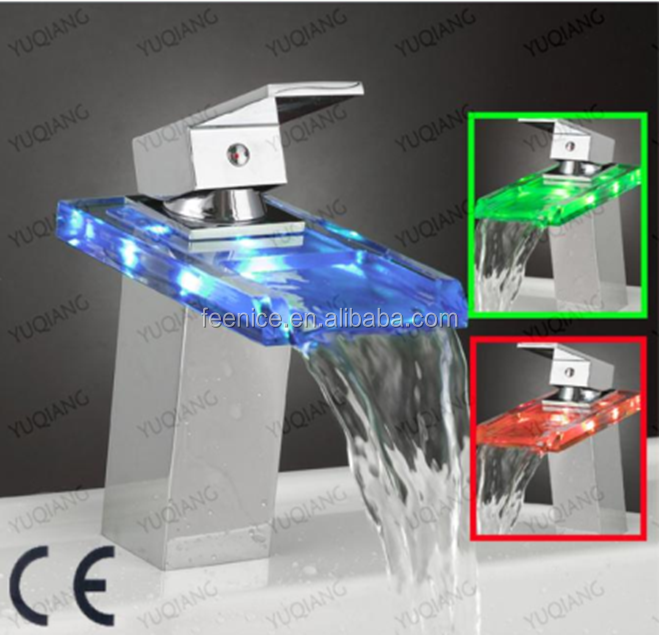 Glass Waterfall basin faucet with led light