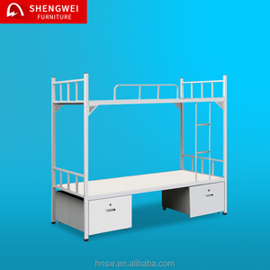 2017 hot dorm furniture cheap queen size metal double bunk bed with storage