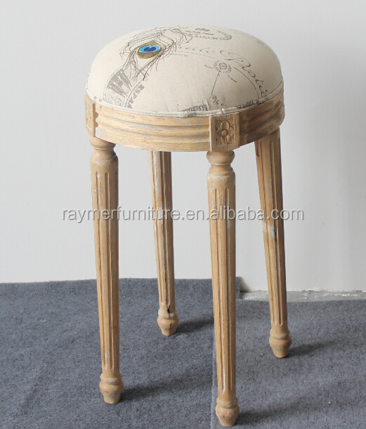 Wooden high seat French Provincial Antique Upholstered Stool Otoman