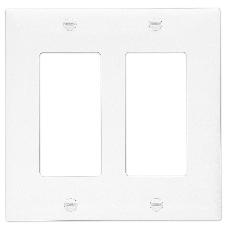 ENERLITES 8832-W Decorator Light Switch GFCI Rocker Wall Plate, Standard Size 2-Gang, White