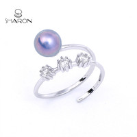 Fantasy Freshwater Pearl Sterling Silver Flower Adjustable Ring Mountings Crafts