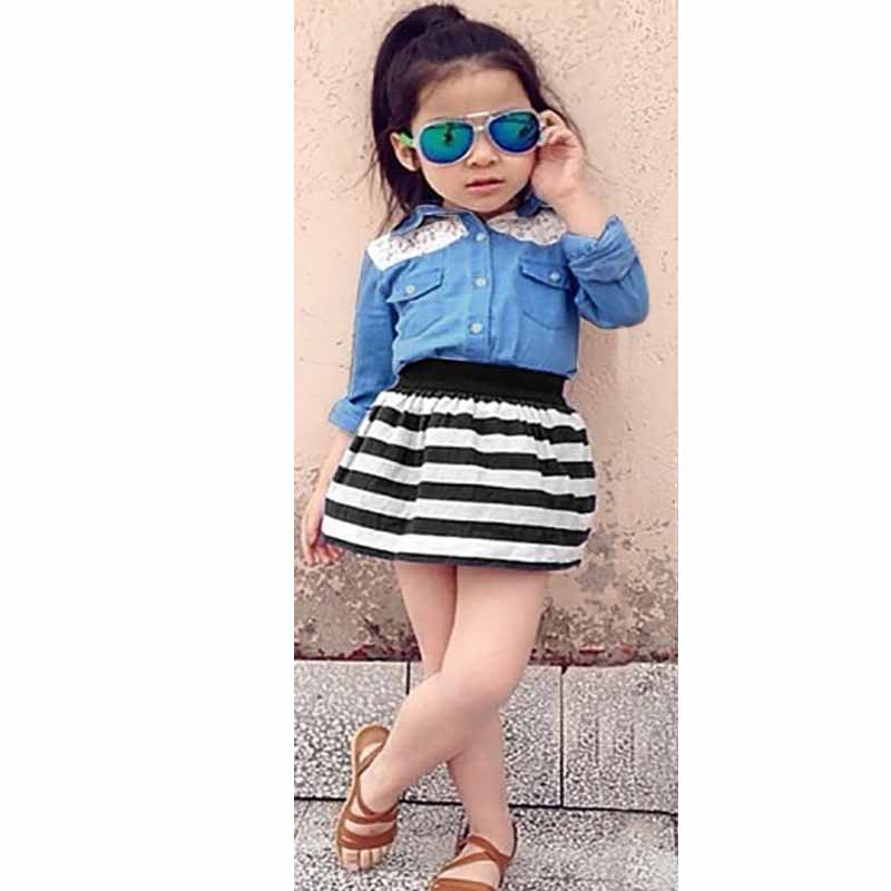 2015 Baby Girl Fashion Sets Kids Girls Clothing Set Two Piece Lace Patchwork Jean Shirt And Stripe Skirt Suits For Children S