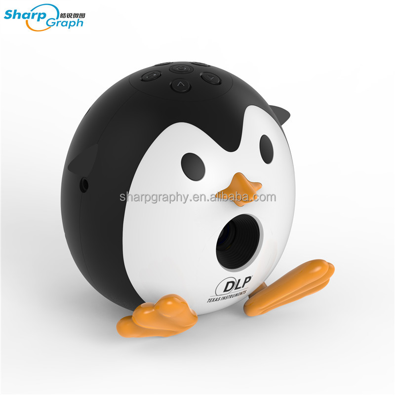 Latest DLP Module UV 1920 x 1080 Battery Powered LED Min Portable Q1 Penguin Projector with HDMI Input