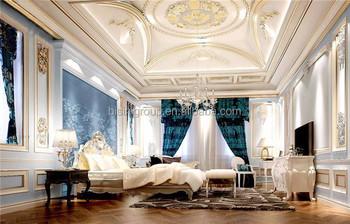 Exquisite Elegant Royal European Style Master Bedroom Interior Rendering Design In Golden White And Blue