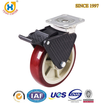 High Performance 4 inch Top Plate Rotatable Triangle Bracket Casters With Plastic Total Brake.