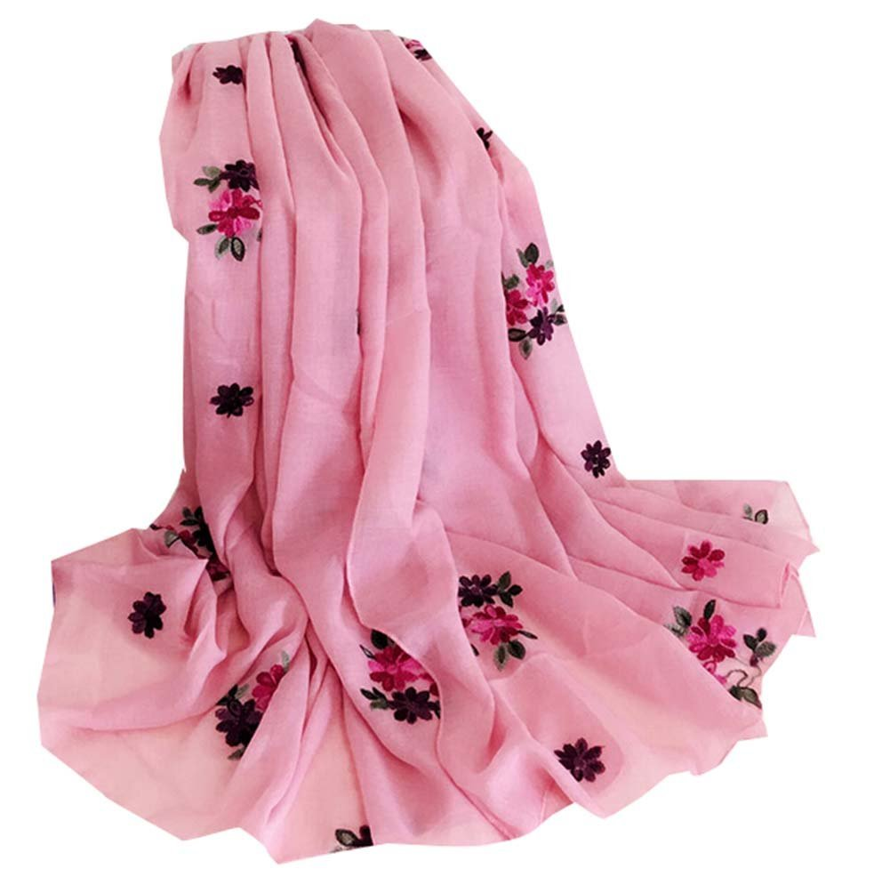 Shawl Embroidered Warm Scarf Scarves For Women Thick Dual-use Shawl Scarf,Pink