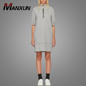 New Grey 1 / 2 Zipper Sweatshirt Dress Short Sleeve Rib Knit Crew Neck Women T Shirt Ladies Dresses