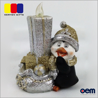 Polyresin Penguin Crafts European Christmas Decorations With Light