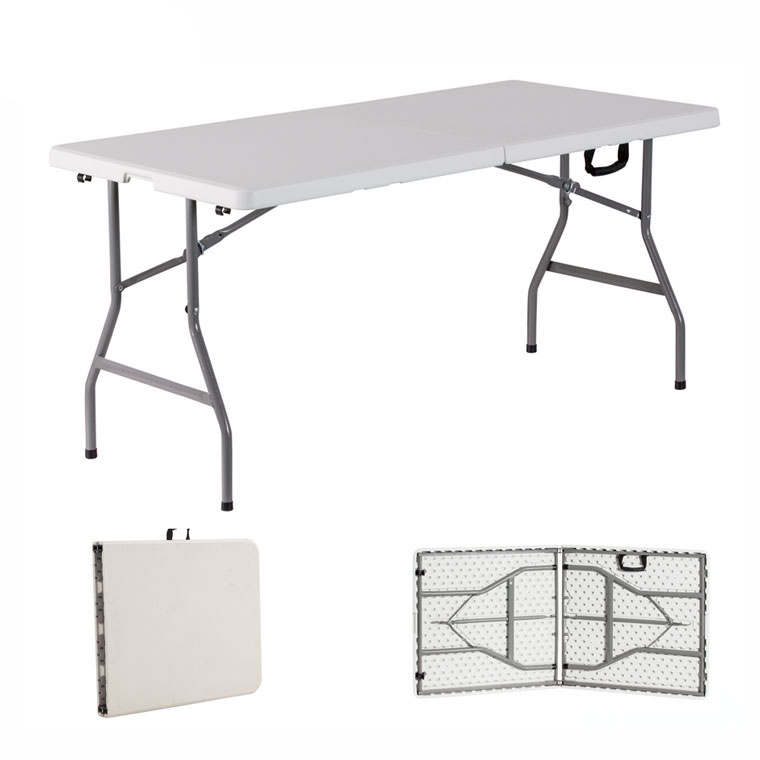 Wholesale 6ft Easy Carrying Rectangle Folding in Half Plastic White Table for Outdoor