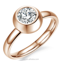 316L Stainless Steel Women Rings Cubic Zirconia CZ Smooth Shinny Arc Women Split Rings Korean Style Wedding Rings Wholesale