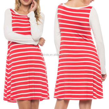 STRIPE PRINT JERSEY KNIT Adult RAGLAN DRESS Women