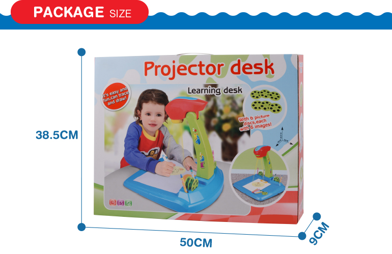 multifunction children educatioanl projection desk learning toy with drawing board