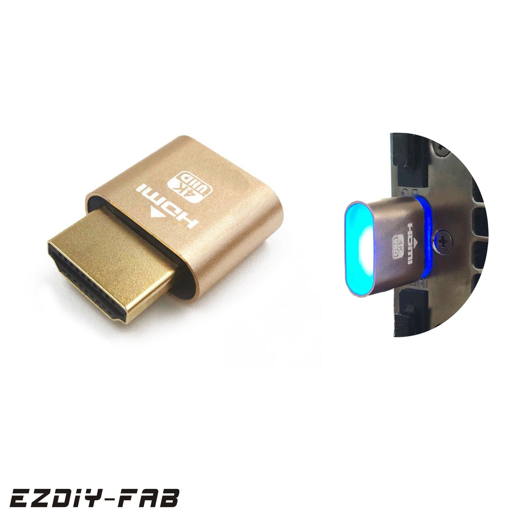 EZDIY-FAB HDMI dummy plug with LED,Headless Ghost, Display Emulator, GPU VGA Supports 4K 3840x2160@60Hz-1 Pack for Mining