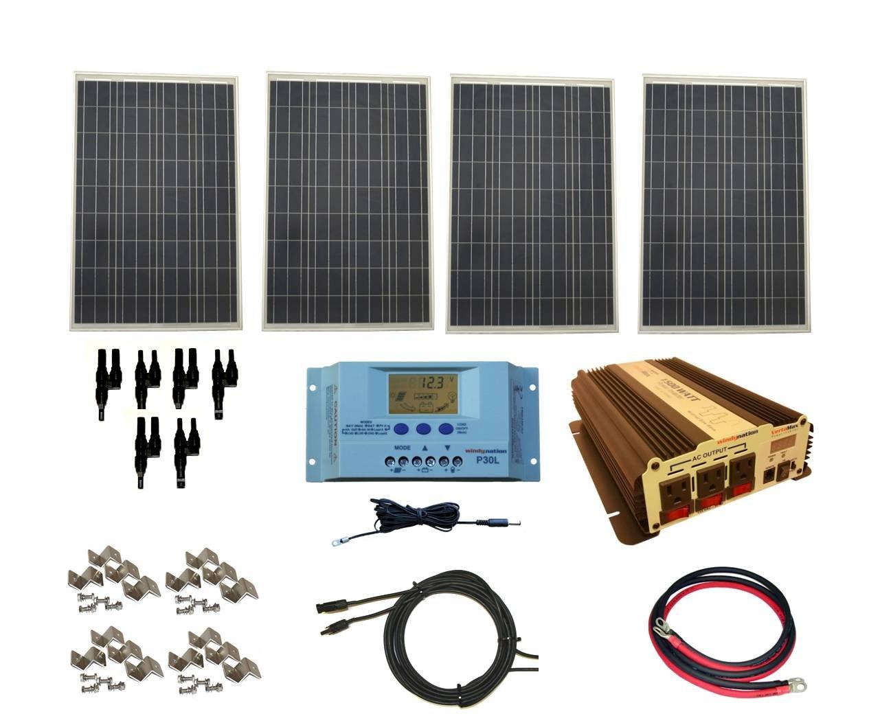 WindyNation Complete 400 Watt Solar Panel Kit with 1500 Watt VertaMax Power Inverter RV, Boat, Off-Grid 12 Volt Battery